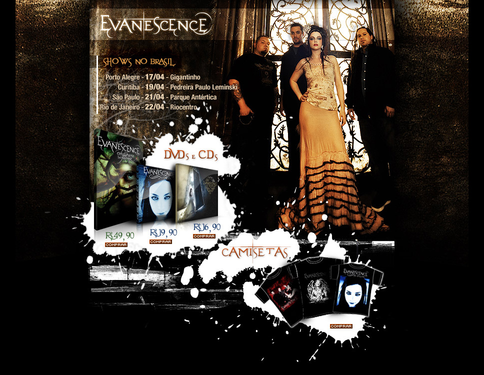 Evanescence products hotsite layout