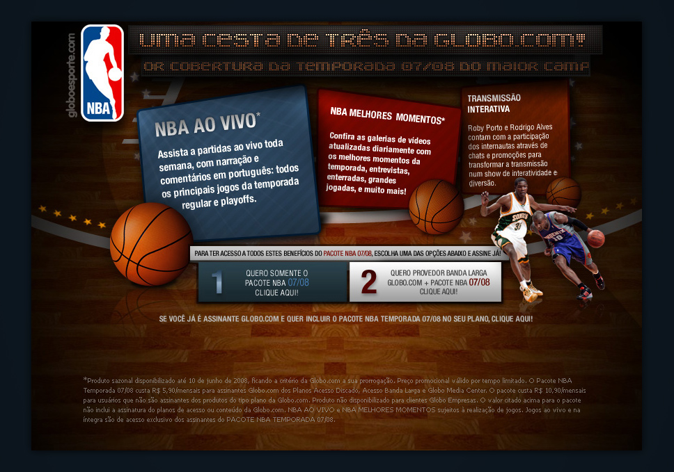 NBA package signup for globo.com